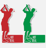 Golf hot deal label sticker vector — Stok Vektör