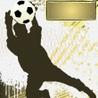 Football Grunge Poster Template with soccer player silhouette - Imagen vectorial