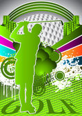 Abstract summer background with golf player silhouette — Vector de stock
