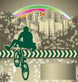 Abstrakt grunge bakgrund med bmx cyklist siluett — Stockvektor