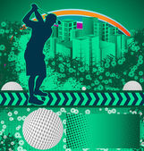 Abstract grunge background with golf player silhouette — Stock Vector