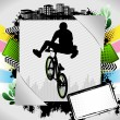 Vector de stock : Abstract summer frame with bmx biker silhouette