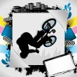 Abstract summer frame with bmx biker silhouette — Stock Vector