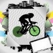 Abstract summer frame with cyclist silhouette — Stock Vector