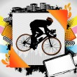 Abstract summer frame with cyclist silhouette - Stock Vector