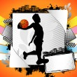 Abstract summer frame with basketball player silhouette — Stock Vector
