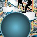 Vintage urban grunge background design with soccer player silhou — Stock Vector #5809815