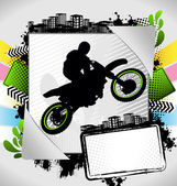 Abstract summer frame with motorcyclist silhouette — Stock Vector