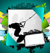Abstract summer frame with wakeboarder silhouette — Stock Vector