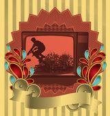 Vintage background design with antique TV. Vector illustration. — Stock Vector