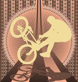 Vintage achtergrondontwerp met bmx biker silhouet. vector illu — Stockvector