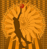 Vintage background design with basketball player silhouette. Vec — Stock Vector