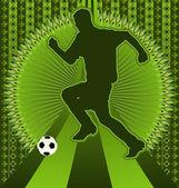Vintage background design with soccer player silhouette. Vector — Cтоковый вектор