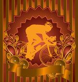 与自行车剪影复古背景设计。矢量健美帝国论坛 — 图库矢量图片