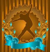 Vintage achtergrondontwerp met skateboarder silhouet. vector ik — Stockvector