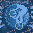 Vintage background design with bmx cyclist silhouette. Vector il - Stock Vector