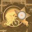 Vintage background design with star frame and cyclist silhouette - Stock Vector