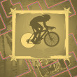 Vintage background design with cyclist silhouette. Vector illust — Stockvektor