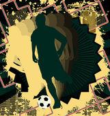 Design de fond vintage avec la silhouette de joueur de football. Vector — Vecteur