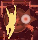 Design de fundo vintage com quadro de estrelas e homem pulando silhou — Vetor de Stock