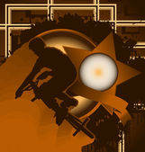 Vintage background design with star frame and bmx biker silhouet — Cтоковый вектор
