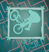 Antika arka plan tasarımı ile bmx motorcu siluet. vektör hüseyin — Stok Vektör