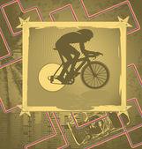 Vintage Hintergrunddesign mit Radfahrer-Silhouette. Vektor illust — Stockvektor