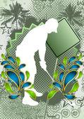 V létě pozadí abstraktní design s golfistou siluetu. vektor — Stock vektor
