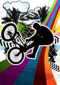 Desenho abstrato com silhueta de motociclista de bmx de verão. Vec — Vetor de Stock