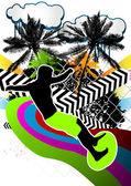 Design de fond abstrait avec la silhouette du surfeur d'été. vector — Vecteur