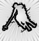 Polo silhouette break through white background — Stock Vector
