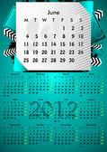 2012 a3 calendrier pour 12 months.june. — Vecteur