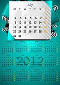 2012 A3 calendar for 12 months.July. — Stock Vector