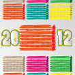 2012 A3 paint calendar for 12 months.April. — Stock vektor