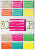 2012 A3 paint calendar for 12 months.February. — Stockvektor