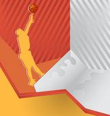 現代抽象的なカラフルな背景。バスケット ボール選手 — ストックベクタ