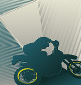 Modern abstract colorful designed background. Motorcyclist. — Vettoriale Stock