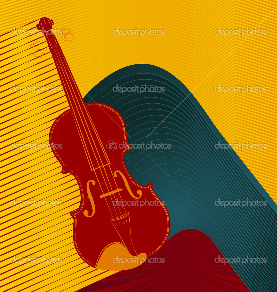 Modern abstract musical designed background. Violin.  Stock Vector #6478609