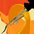 Modern abstract musical designed background. Trumpet. — Stock Vector