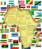 Africa map and country flags — Stock Photo