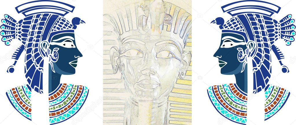 Tutankamon and Nefertiti. Artistic egyptian historical illustration card — Stock Photo #6496941