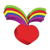 Red heart and rainbow — Stock Photo