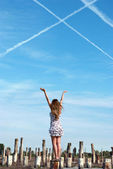 The girl against the sky — Stock Photo