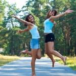 Happy girls playing — Stock Photo