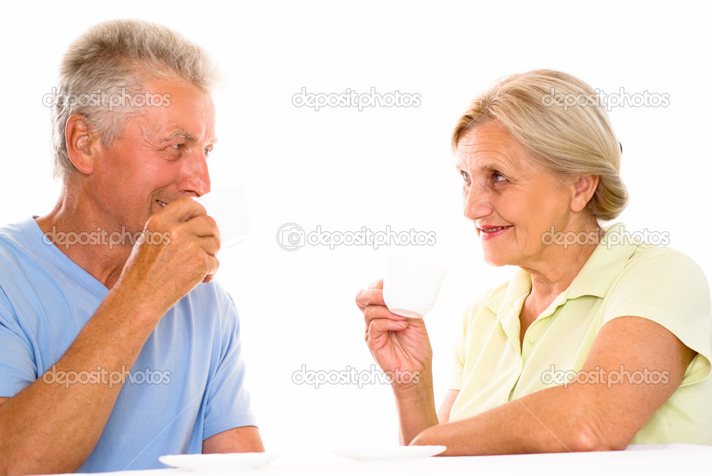Nice elderly couple together on a white background  Stock Photo #5759786