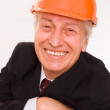 Old builder in the helmet - Stock Photo
