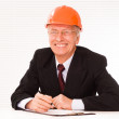 Old builder in the helmet — Stock Photo