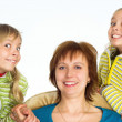 Happy mom with daughters — Stock Photo