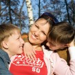 Sons with mom — Stock Photo