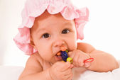Baby with toys — Stock Photo